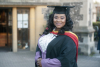 Ramatu Fofanah, a graduate of Barnet and Southgate College, outside St Johns Church, High Barnet for her graduation ceremony
