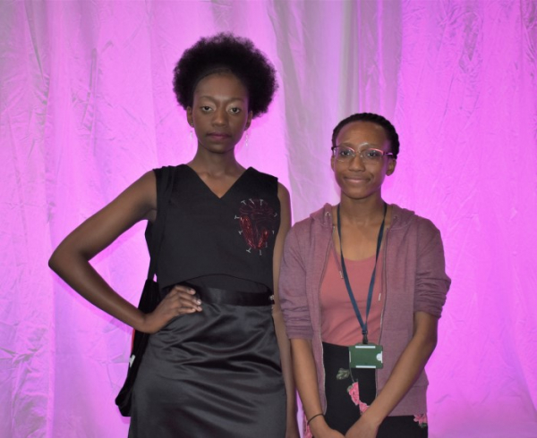 Barnet and Southgate College fashion student Janine Jones (right) with a model wearing one of her designs