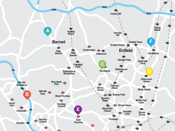 Barnet and Southgate College area map