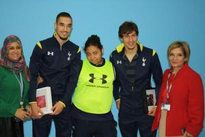Tottenham players with Centre of Excellence students and staff